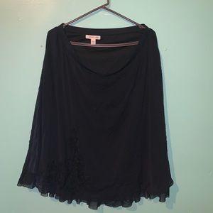 Black Coldwater Creek Skirt w/ Cute Floral Detail